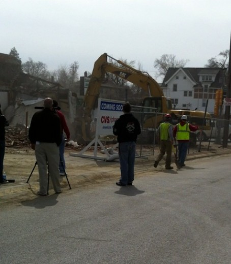 The 49'r building is demolished, March 18, 2011.
