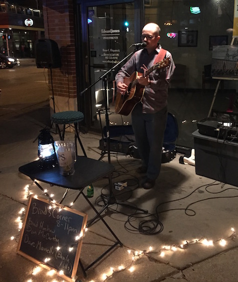 Dan McCarthy at Brad's Corner during Benson First Friday, May 1, 2015.