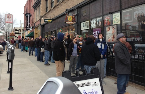 The line outside of Homer's yesterday prior to the 10 a.m. opening time. Photo by John Shartrand.