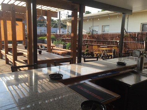A look at O'Leaver's new patio / beer garden from the new bar looking toward the back benches.
