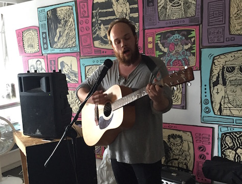 Sam Martin in the Sweatshop Gallery at Sweatfest, July 15, 2015. He's playing tonight at O'Leaver's.