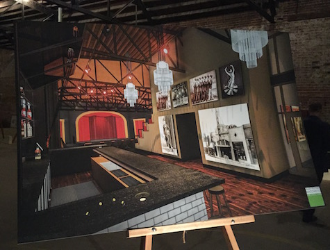Rendering of the interior of Benson Theater, shot inside Benson Theater last night.