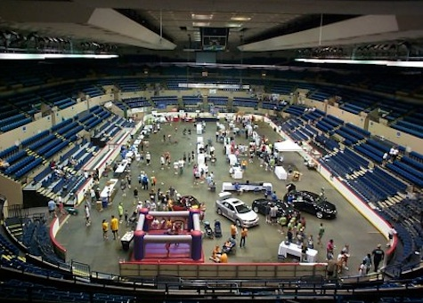 The inside of the Omaha Civic Auditorium.