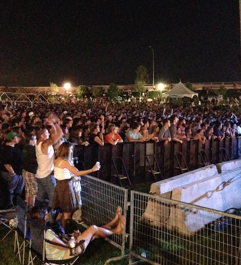 The Maha Music Festival crowd late in the evening, looking from stage left.