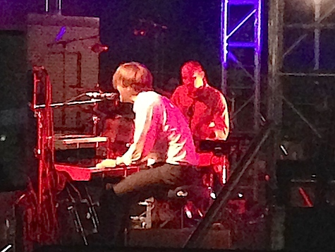 Death Cab for Cutie's Ben Gibbard kicking off their headlining set.