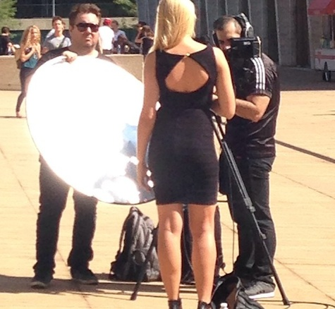 Some poor lady doing a stand-up outside Lincoln Center during New York Fashion Week.. Hope I'm photo bombing her. More at instagram.com/timmymac29.