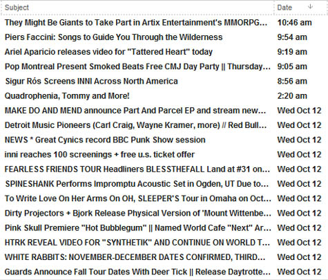 A brief glance at my current inbox.