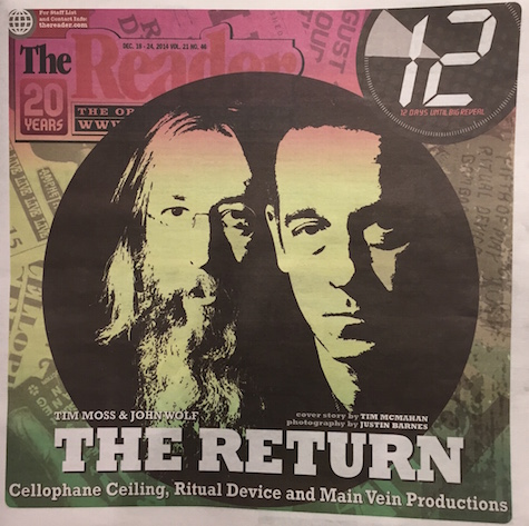 The cover of this week's issue of The Reader featuring a profile on Ritual Device, Cellophane Ceiling and Main Vein Productions.