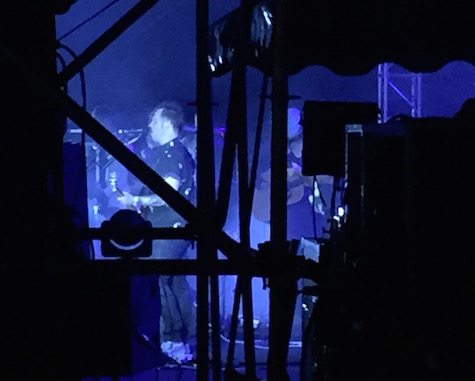 A view from the side of the stage of Modest Mouse's Isaac Brock during the Maha Music Festival, 08/15/15.
