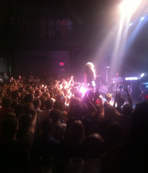Moments after her stage dive, at The Slowdown May 14, 2012.