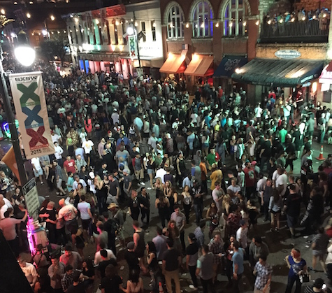 Looking down on Sixth Street from Maggie Mays at South By Southwest 2015.