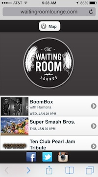 The new Waiting Room website on an iPhone.